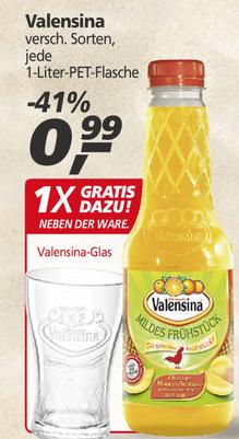Valensina versch. Sorten 1,0l für 0,99€ + Gratis Valensina-Trinkglas [REAL]