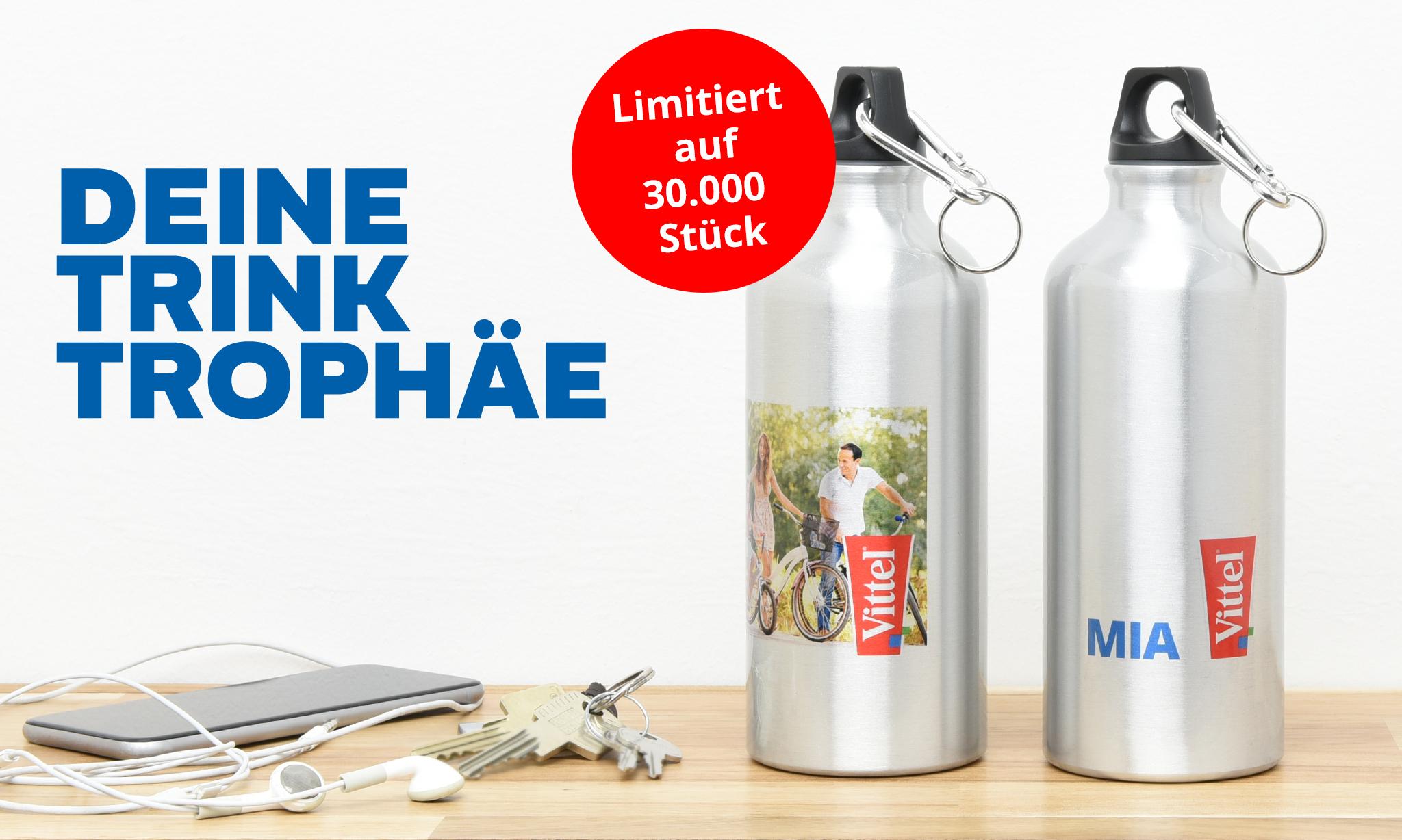Trinkflasche mit eigenem Motiv für 5,99€ beim Kauf einer Aktionspackung Vittel
