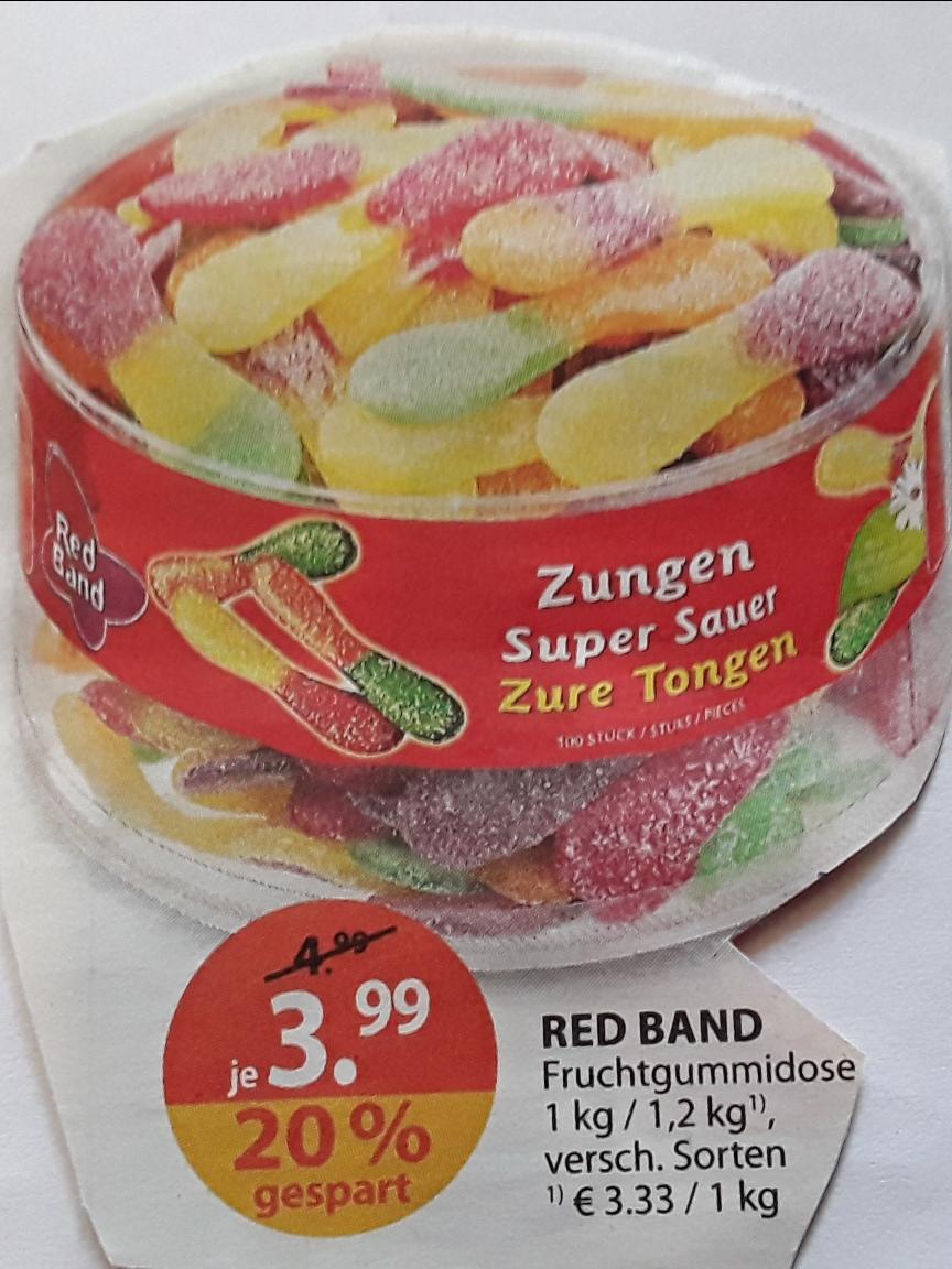 RED BAND Fruchtgummidose / versch. Sorten (auch Saure Zungen) / 1 - 1,2 kg für 3,99 € ( effektiv 3,87 € ) ab 3.7.17 @ Müller (offline)