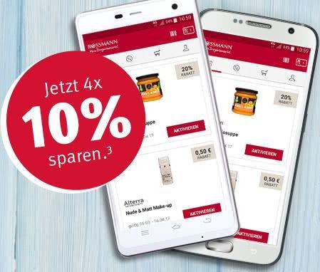 Neue 10% Coupons auf Alles* in der Rossmann App bis 31.08.2017