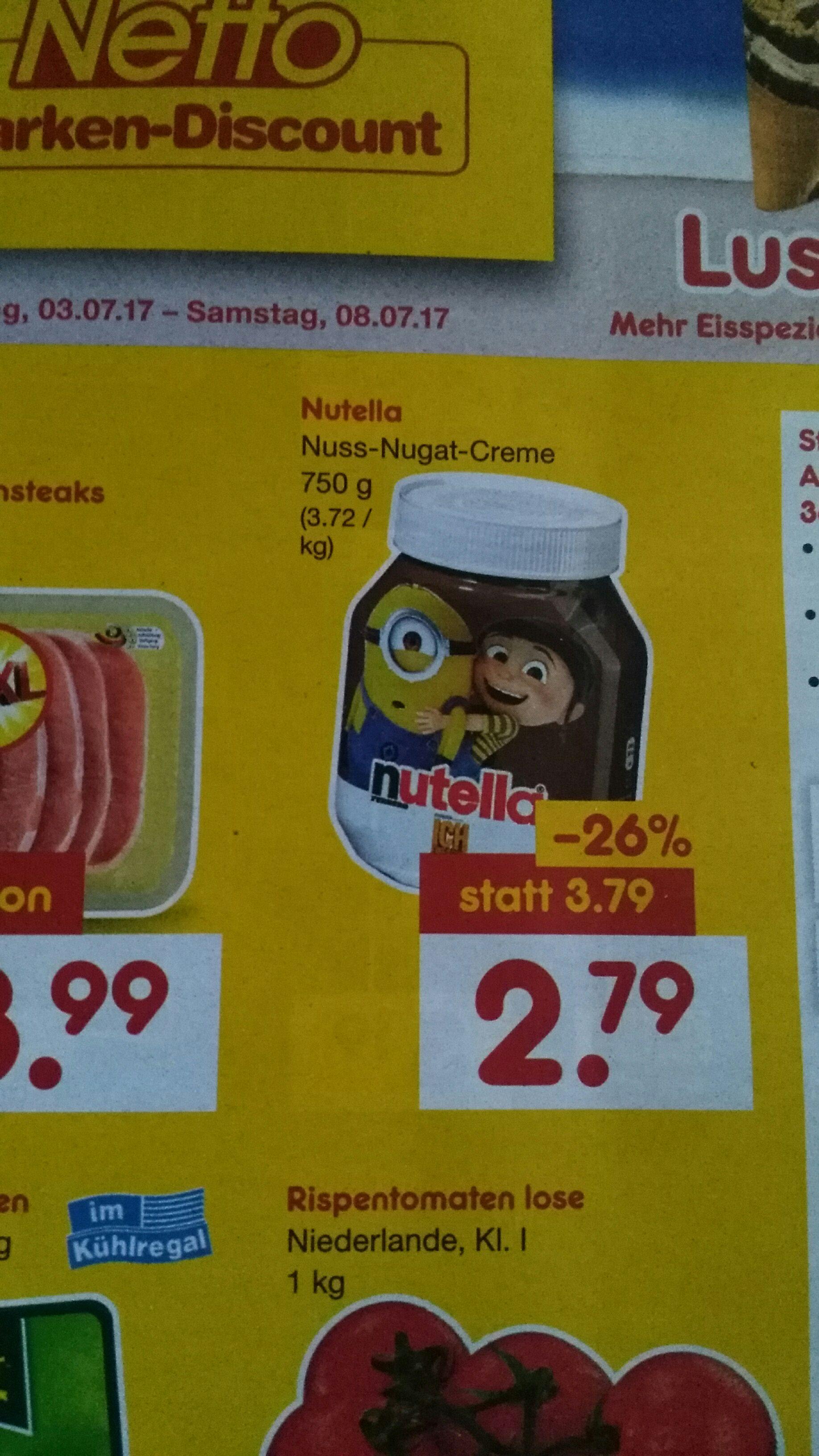 Nutella 750g bei Netto. Statt 3,79€