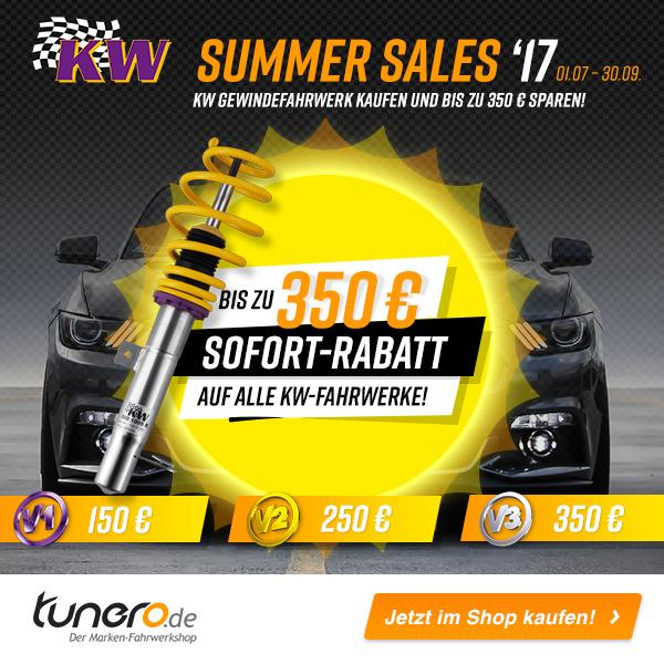 KW SUMMER SALE! Rabatt bis zu 350€ auf alle KW V1, V2 und V3-Gewindefahrwerke