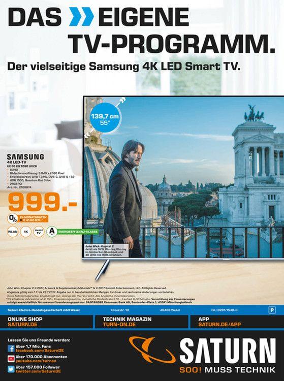 SAMSUNG UE 55 KS 7090/10 bit 100Hz Panel, HDR1000, Quantum Dot Display, 22ms İnput Lag [Saturn in Wesel] 999€ gültig bis 22.07.17