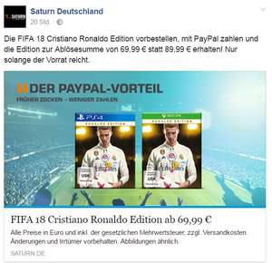 Saturn online - Fifa 18 Ronaldo Edition - Paypal Deal - Xbox One & PS4 Spiele