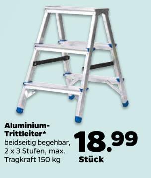 Netto mit Hund Aluminium Trittleiter Leiter beidseitig begehbar, 2x3 Stufen (mit Arbeitsstufe) 150kg Traglast