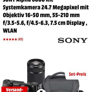 Sony Alpha 6000 Kit Systemkamera 24.7 Megapixel mit Objektiv 16-50 mm, 55-210 mm f/3.5-5.6, f/4.5-6.3, 7.5 cm Display , WLAN