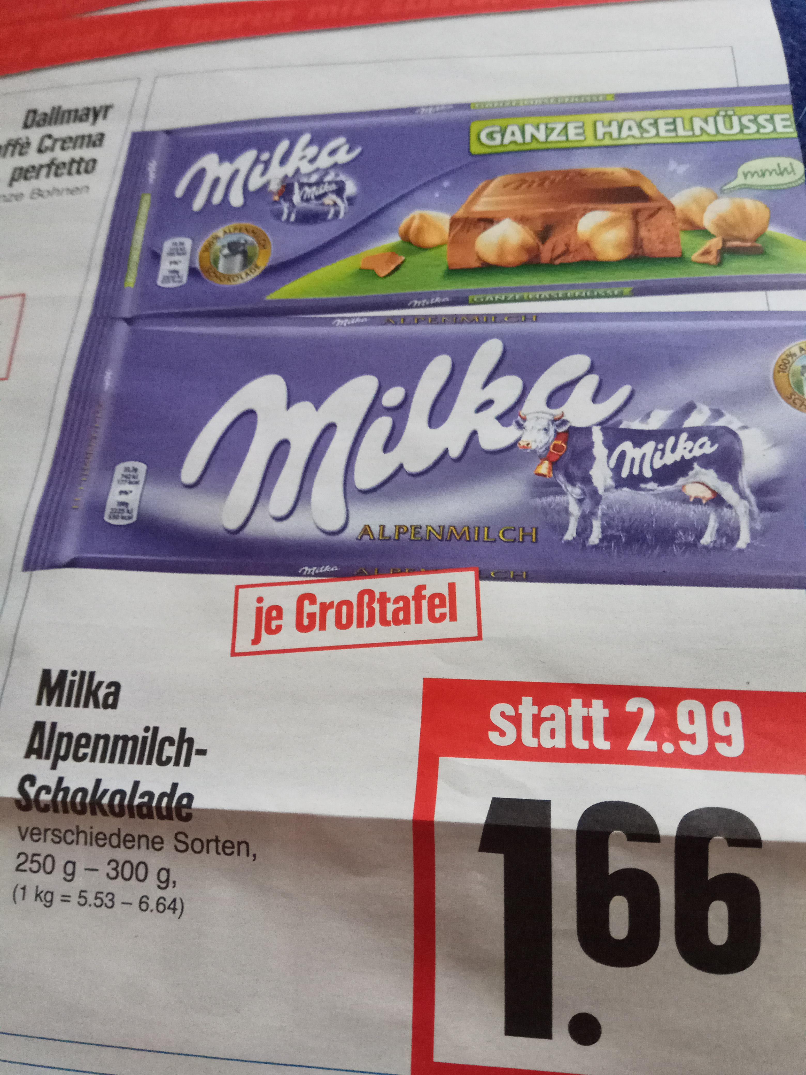 Milka Schokolade (große Tafel 250g-300g, verschiedene Sorten) für je 1,66€ @ Edeka Hessenring
