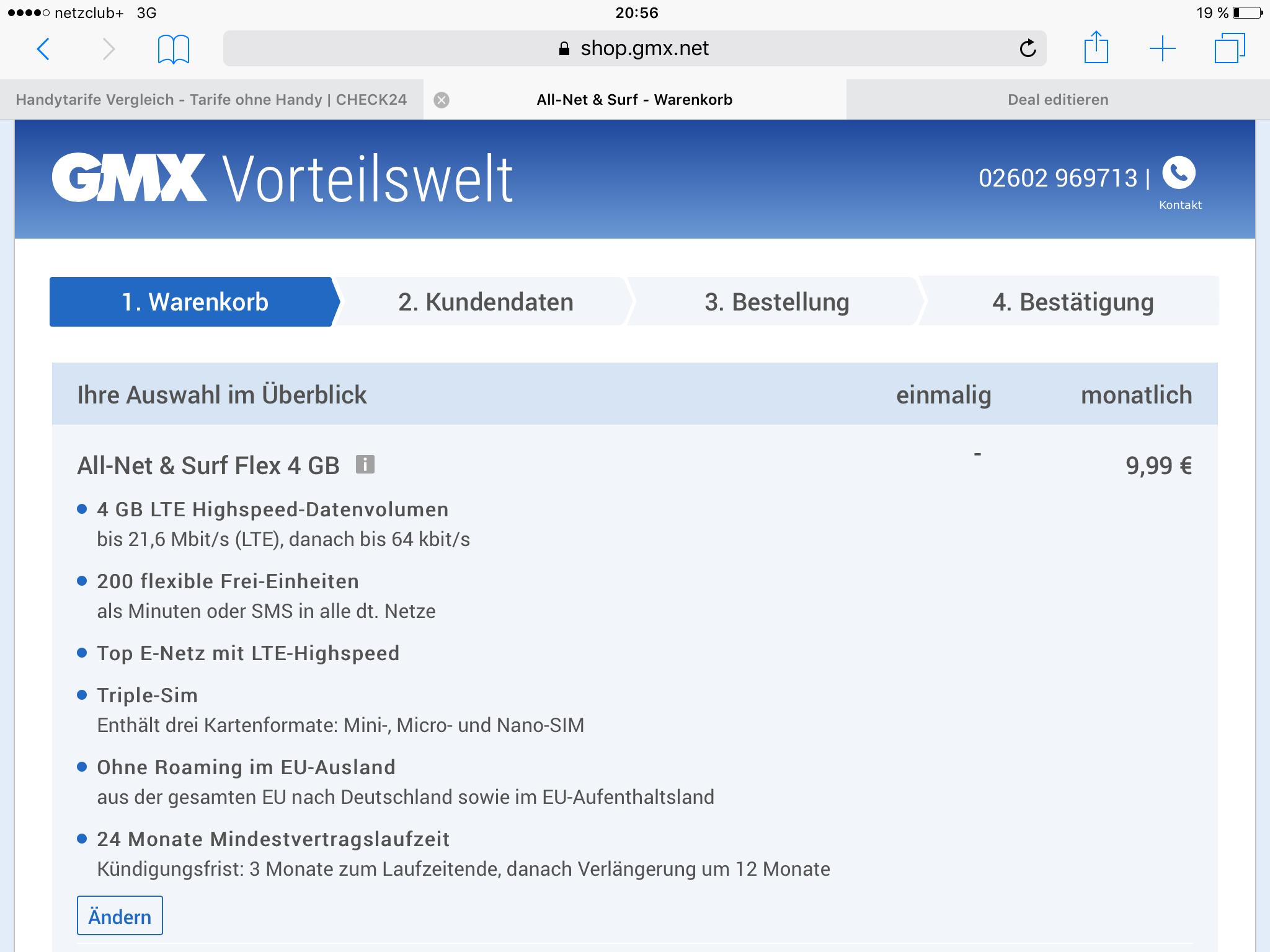 (Nur SIM) All-Net & Surf Flex 4 GB Vertrag für mtl. 9,99€