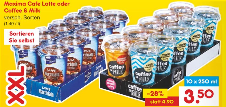 """10x """"Café Latte"""" oder """"Coffee & Milk"""" (10x250ml) für nur 0,35€/Stück [Netto MD]"""