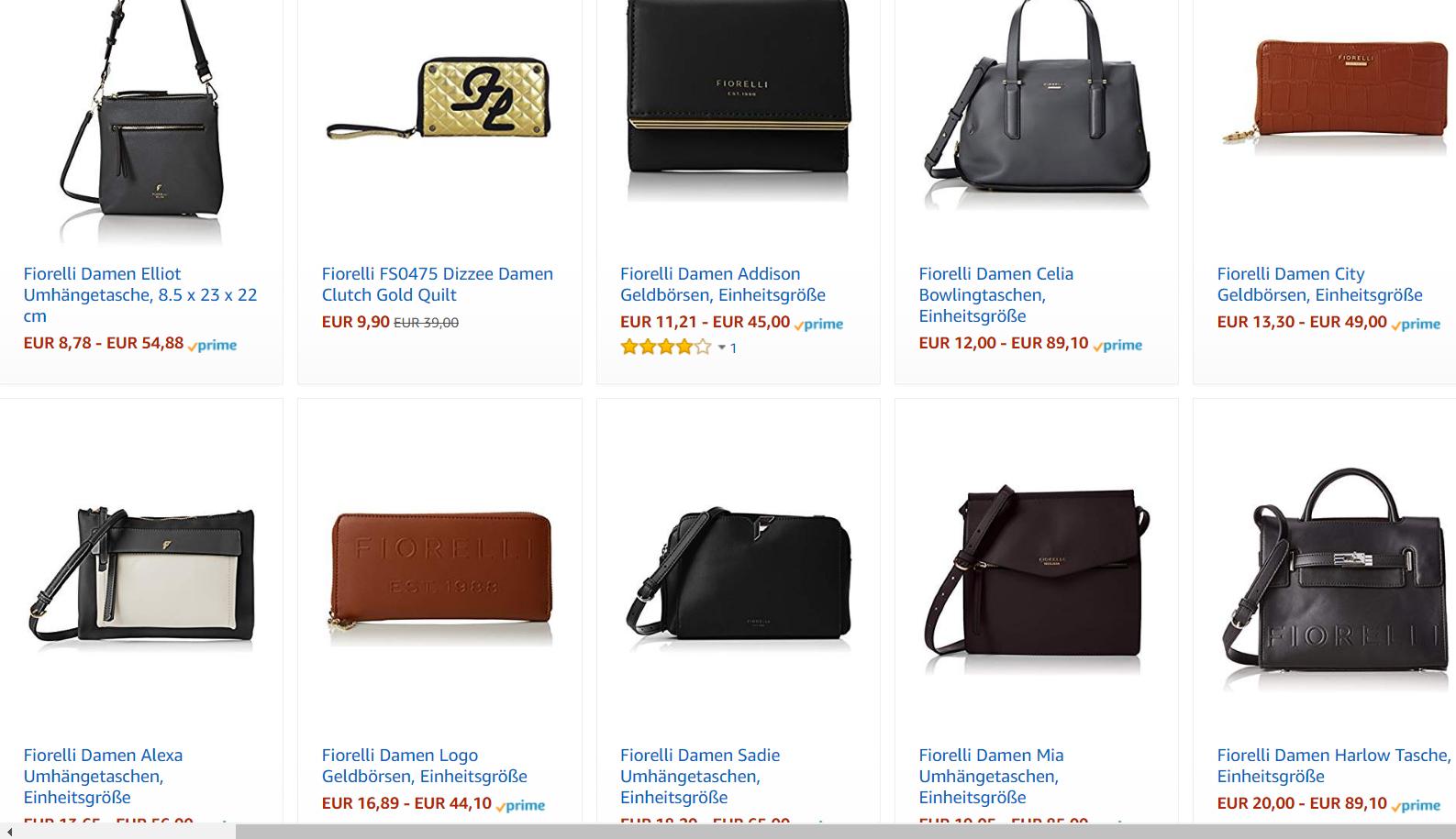 stark reduzierte Fiorelli Damenhandtaschen bei Amazon