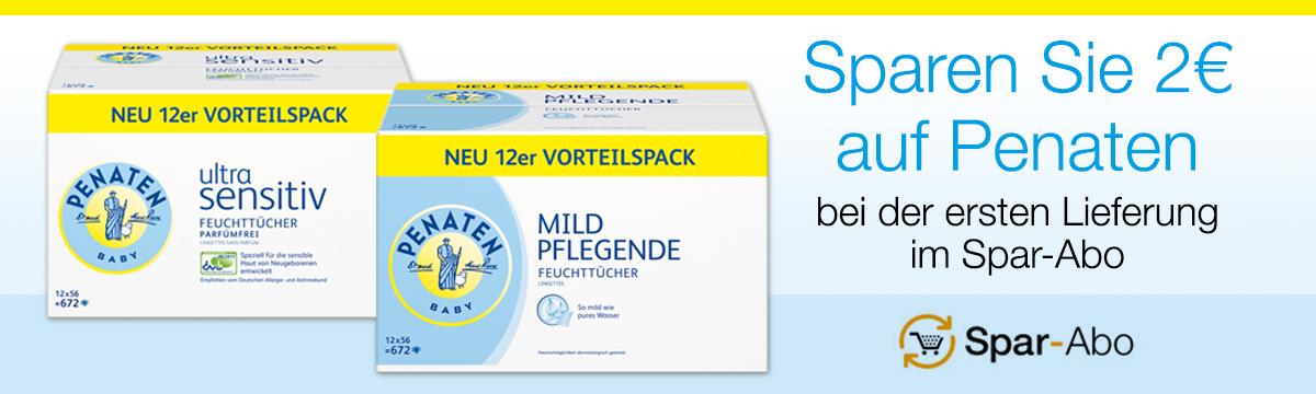 Penaten Ultra Sensitiv Feuchttücher Vorteilspack: 12x56 Stück um  6,61€ statt 9,06€ DANK SparAbo Aktion