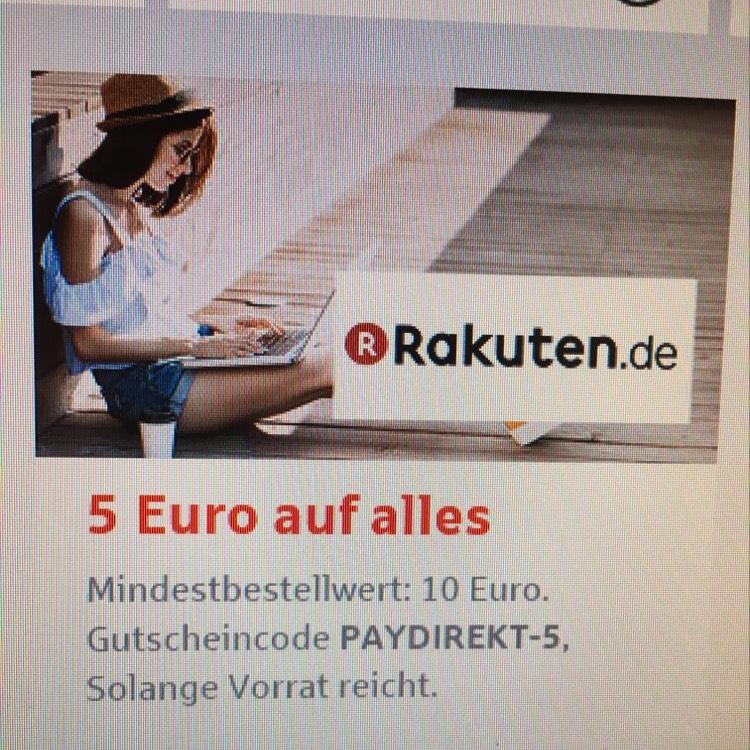 Rakuten.de - 5 EUR Gutschein ab 10 EUR MBW mit PayDirekt