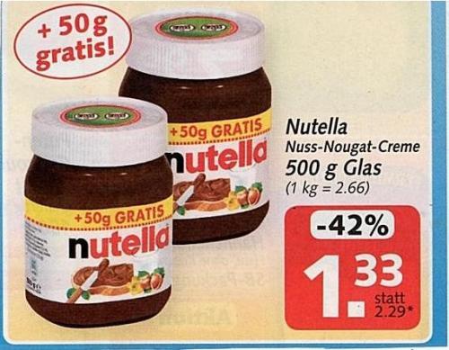 Nutella 500G (50G Gratis) für 1.33 Euro @HIT!