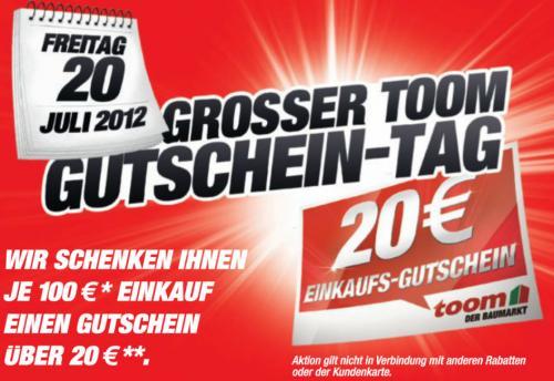 20€ Einkaufsgutschein je 100 € Einkauf @Toom Baumarkt