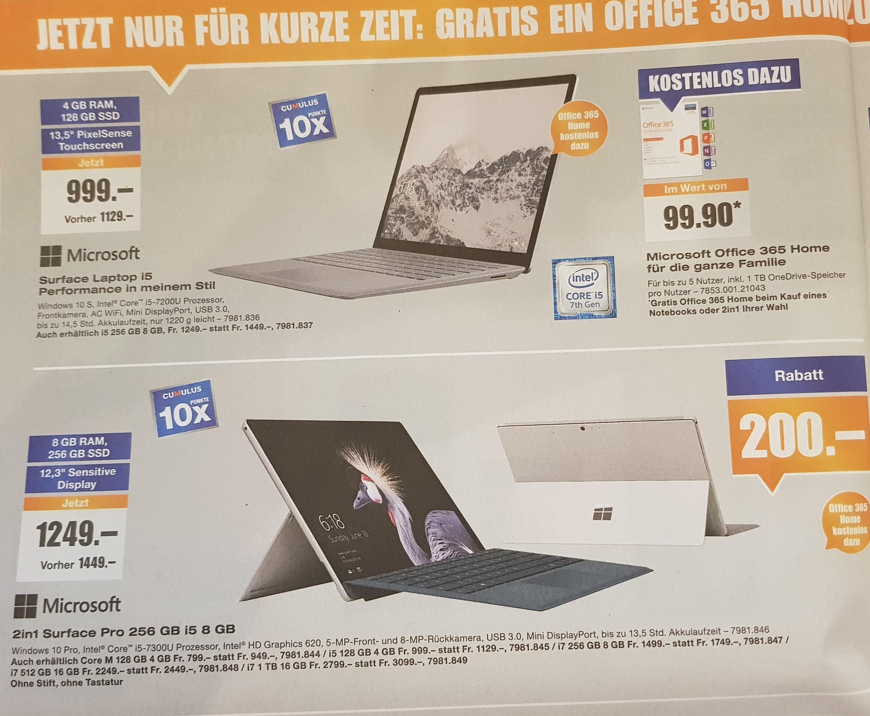 [Schweiz] Surface Pro (2017) & Surface Laptop plus Gratis Office 365 Home