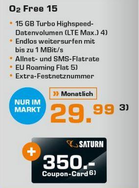[lokal Saturn Rostock] O2 Free 15 + 350€ Saturn Coupon-Card