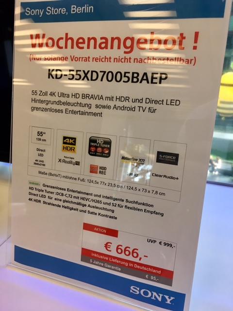 [Lokal Sony Store Berlin] Sony TV KD-55XD7005 (Lieferung mögl.)