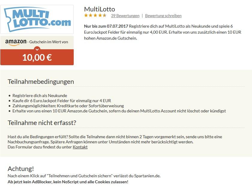 6 EuroJackpot-Felder für 4€ kaufen - 10€ Amazon-Gutschein erhalten (nur Neukunden)