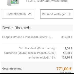 Iphone 7 Plus 32GB silber (notebooksbilliger.de)