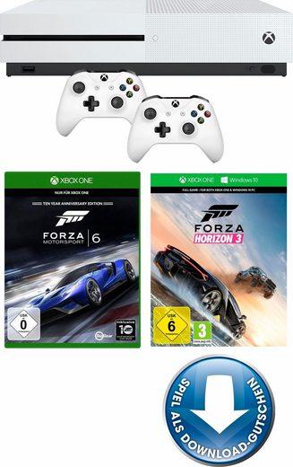 Microsoft Xbox One S 500 GB + Forza Horizon 3 + Forza Motorsport 6 + 2. Wireless Controller für 265,94€ bei Neckermann