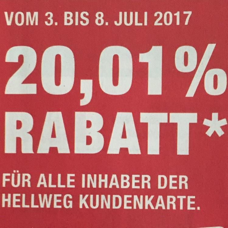 [Hellweg] 20,01 % Rabatt (online & offline) mit Kundenkarte auf ausgewählte Produktkategorien