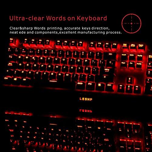 Mechanische Gaming Tastatur + schnurlose Maus von LESHP