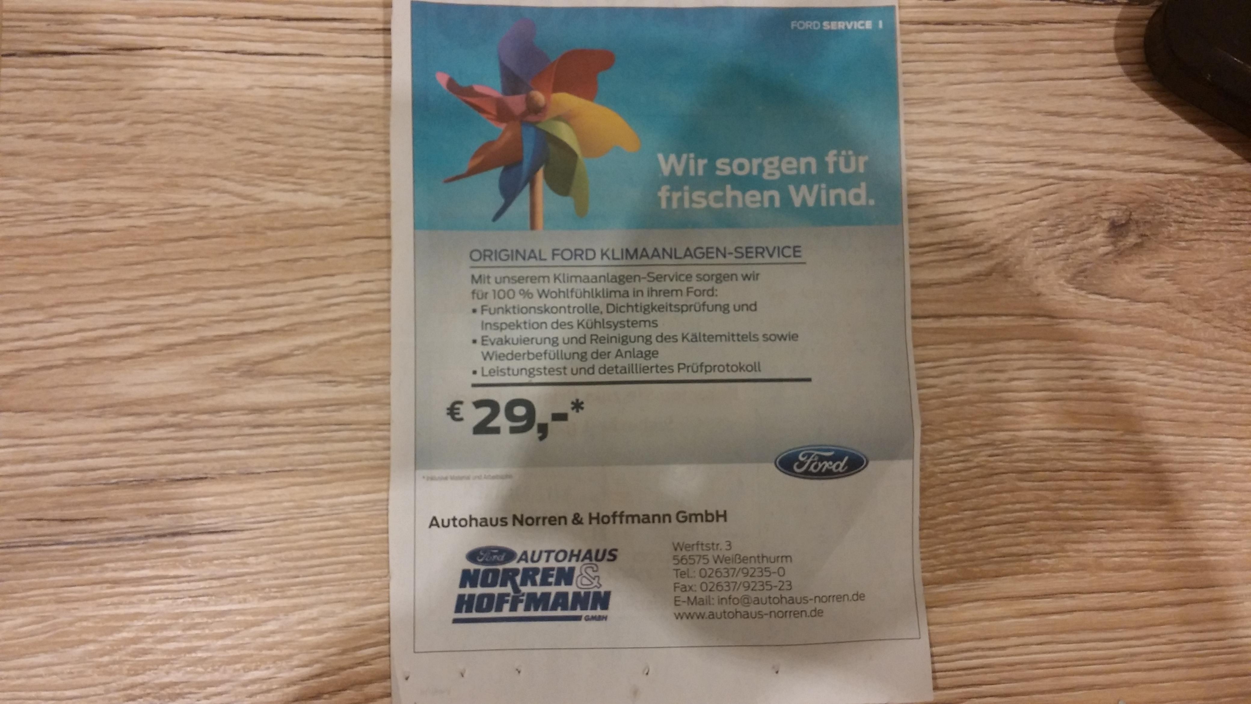 [Regional Weißenthurm] Ford Klimaanlagenservice incl. Material für 29 Euro