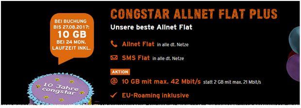 Congstar Allnet Flat 5GB für 410€ (17,08€/mon) bzw. Congstar Allnet Flat Plus 10GB für 610€ (25,42€/mon)