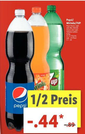 [Lidl ab 10.07] Pepsi, Mirinda oder 7Up in der 1,5Liter Flasche für je 0,44€ *Preis je Liter ca. 0,30€**