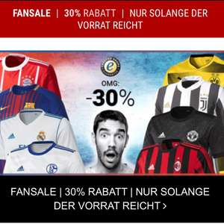 30% auf Fanartikel und Trikots der kommenden Fußball Saison