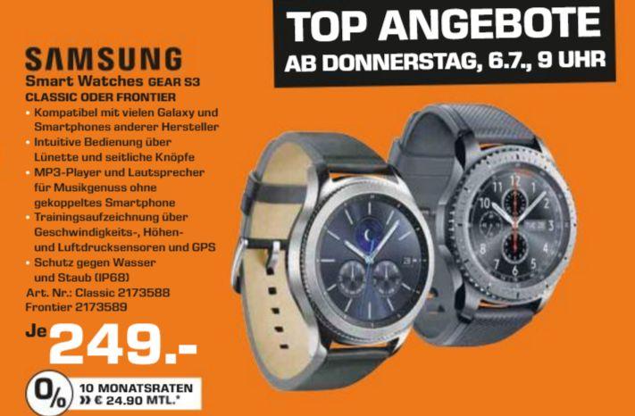 [Lokal Saturn Freiburg ab 06.07] SAMSUNG Gear S3 Frontier Smartwatch Silikon, 22 mm, Korpus: Space Gray, Silikon-Armband: Blue Black oder SAMSUNG Gear S3 Classic Smartwatch für je 249,-€