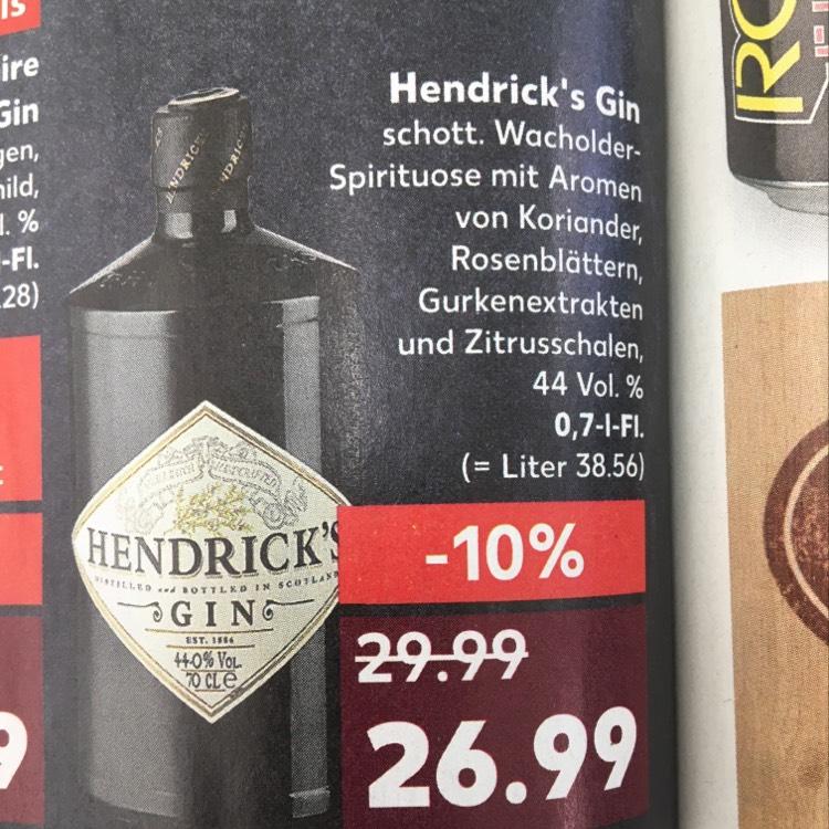 Hendrick's Gin für nur 26,99 bei Kaufland(bundesweit)