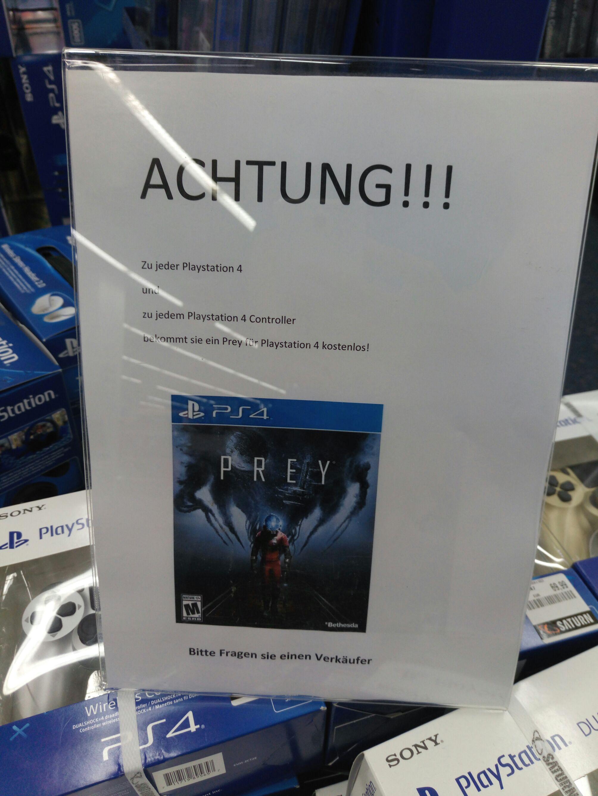 PS4 Controller + Prey gratis Saturn bundesweit