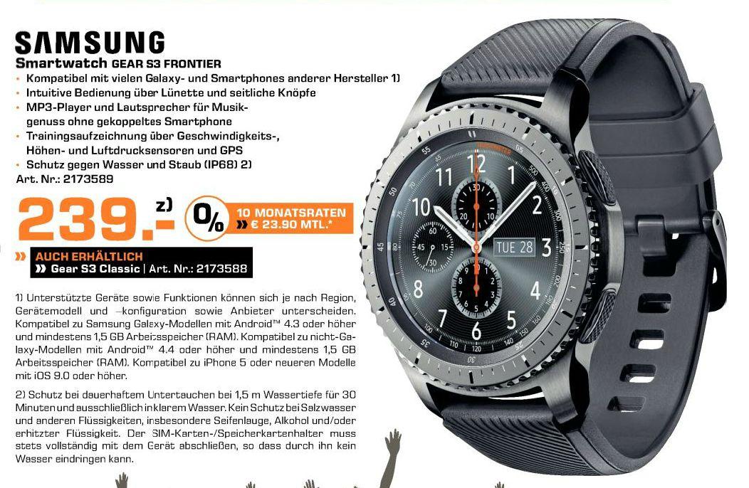 SAMSUNG Gear S3 Frontier Smartwatch Silikon, 22 mm, Korpus: Space Gray, Silikon-Armband: Blue Black oder SAMSUNG Gear S3 Classic Smartwatch für je 239,-€ [Saturn/Mediamarkt]**Jetzt auch beim Mediamarkt zu dem Preis