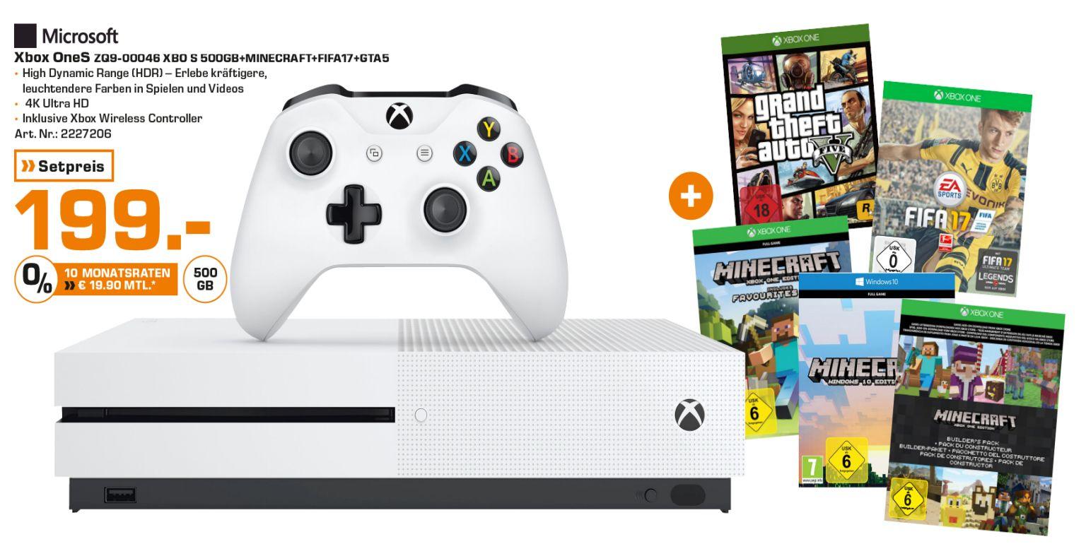 [Lokal Saturn Freiburg] Xbox One s mit 500GB als Minecraft Bundle inc. Fifa17 und GTA 5 für 199,-€