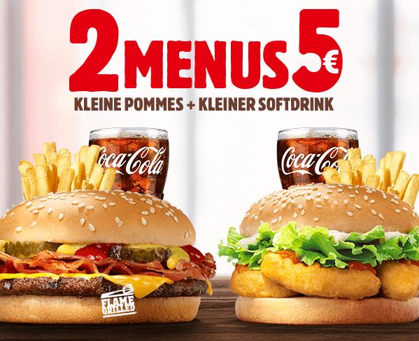 BK München 2 Menüs für 5 € Bacon Cheese oder Chicken Nugget Burger