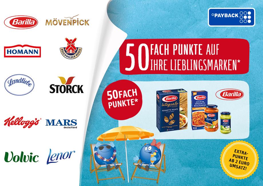 Rewe - 50-fach Payback Punkte auf mehrere Marken (max 25% Rabatt)