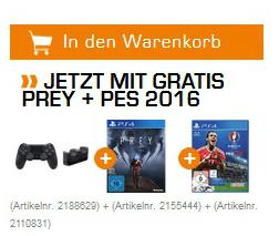 Sony PS4 Wireless Dualshock 4 Controller (V2) + Charger Ladestation + Prey Day One Edition (PS4) für 49,99€ versandkostenfrei (Saturn)