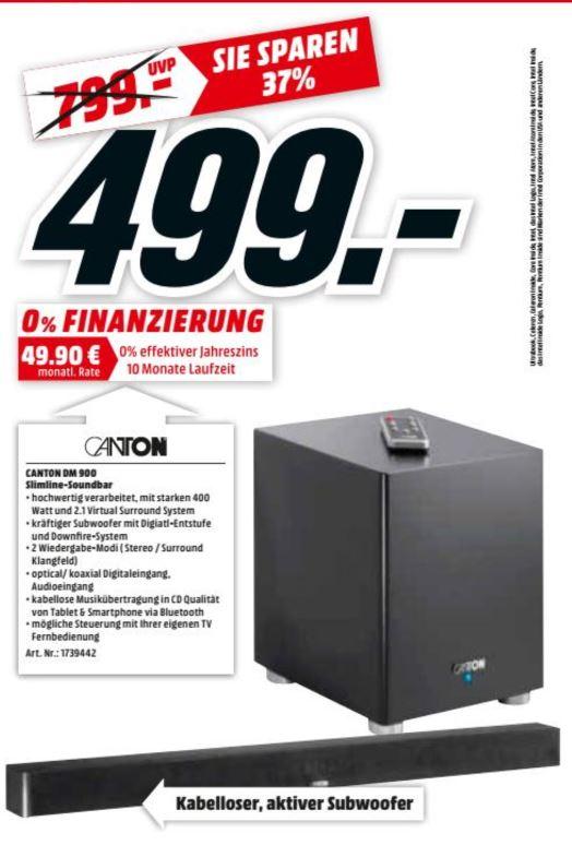 [MM Berlin/Postdam] CANTON DM 900 2.1 Soundbar 2.1 Heimkino-System (1x Soundbar, 1x Subwoofer, Bluetooth, App-steuerbar, Schwarz)