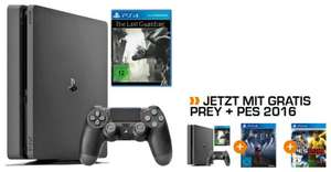 Sony PlayStation 4 Konsole Slim 1TB + The Last Guardian (PS4) + Prey Day One Edition (PS4) + Pro Evolution Soccer 2016 Day One Edition (PS4) für 249€ versandkostenfrei  (Saturn)