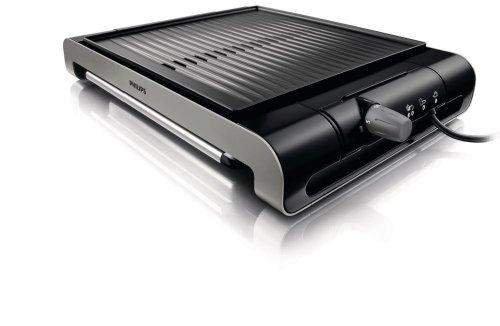 Amazon und Media MArkt:  Philips HD4417/20 Tischgrill aus Edelstahl, 2000 Watt, gerippte Platte, 5 Stufen, Schwarz/Silber