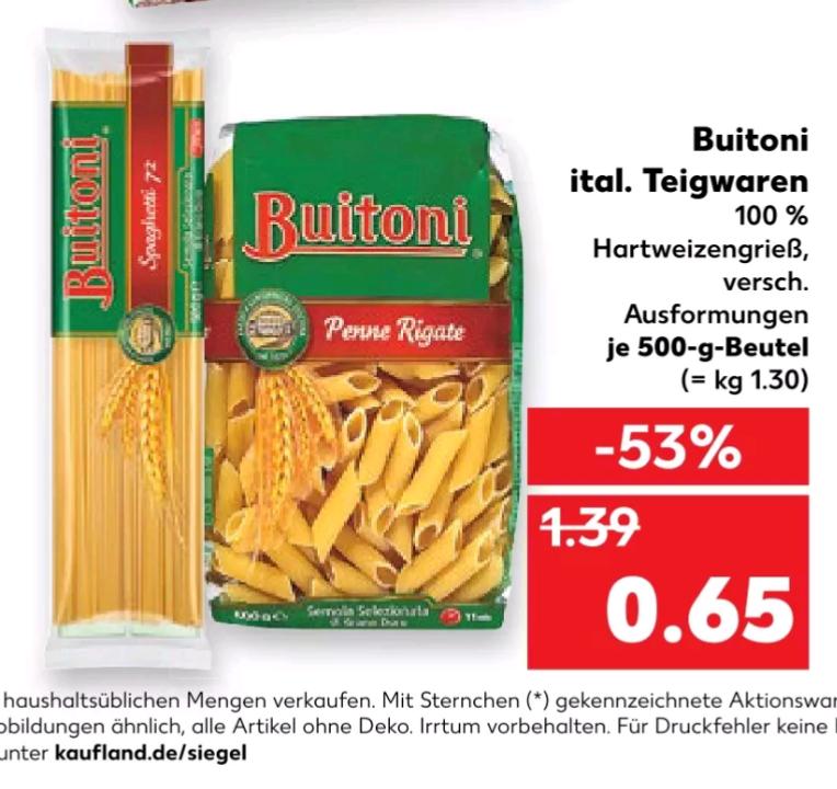 Buitoni Ital. Pasta aus 100% Hartweizengrieß nur 0,65 @Kaufland(Lokal?)