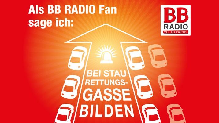 """Pro Rettungsgasse"" Gratis Din A5 oder Din A6 Aufkleber bei BB Radio abholen oder bestellen"