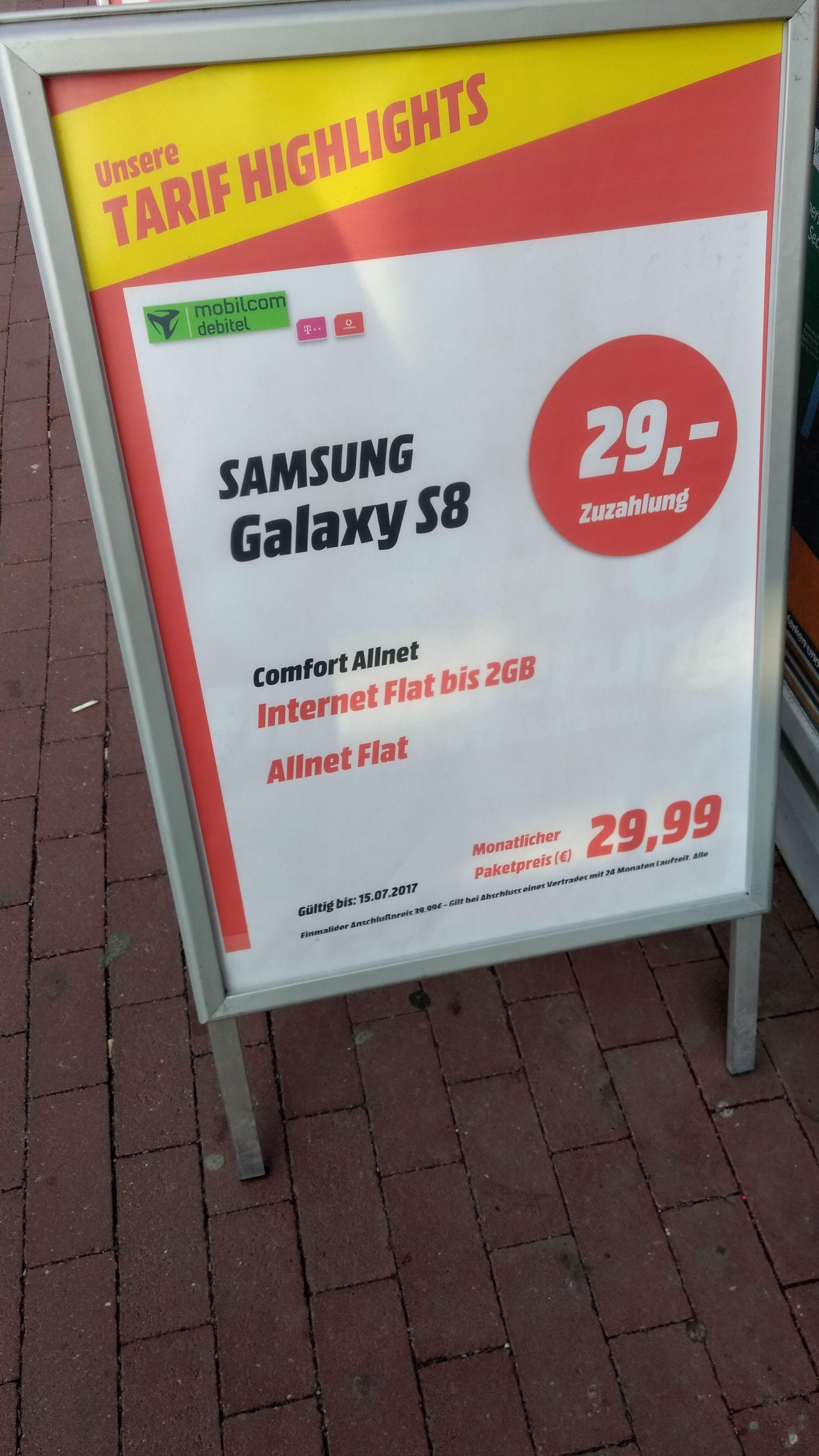 (Berlin) Galaxy S8 mit Allnet und 2 GB für monatlich 29,99, einmalig 29 Euro Zuzahlung + 39,99 Euro Anschlusspreis