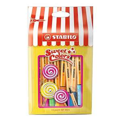 Amazon Prime: Fineliner - STABILO point 88 Mini - Sweet Colors - 15er Pack - mit 15 verschiedenen Farben im wiederverschließbaren Beutel