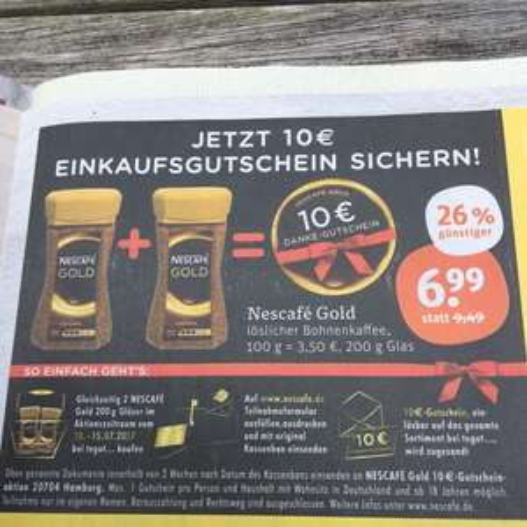 Nescafé Gold 3,01€ Gewinn möglich (Tegut)