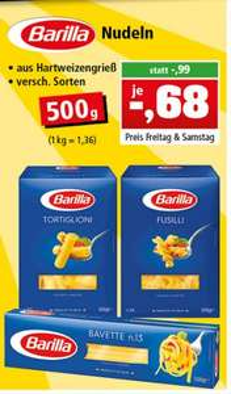 [14. + 15. Juli] Barilla Nudeln 500g 0,68 € statt 0,99 € [Bundesweit?]
