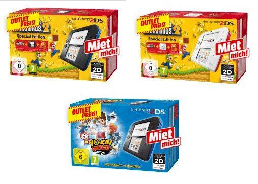[Mediamarkt] NINTENDO 2DS Weiß/Rot oder Schwarz Blau + New Super Mario Bros. 2 (Special Edition)oder NINTENDO Nintendo 2DS Blau + YO-KAI WATCH für je 69,-€ Versandkostenfrei