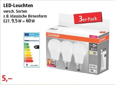 [T. Phillips] Osram LED-Leuchten 3er Pack [Bundesweit?]
