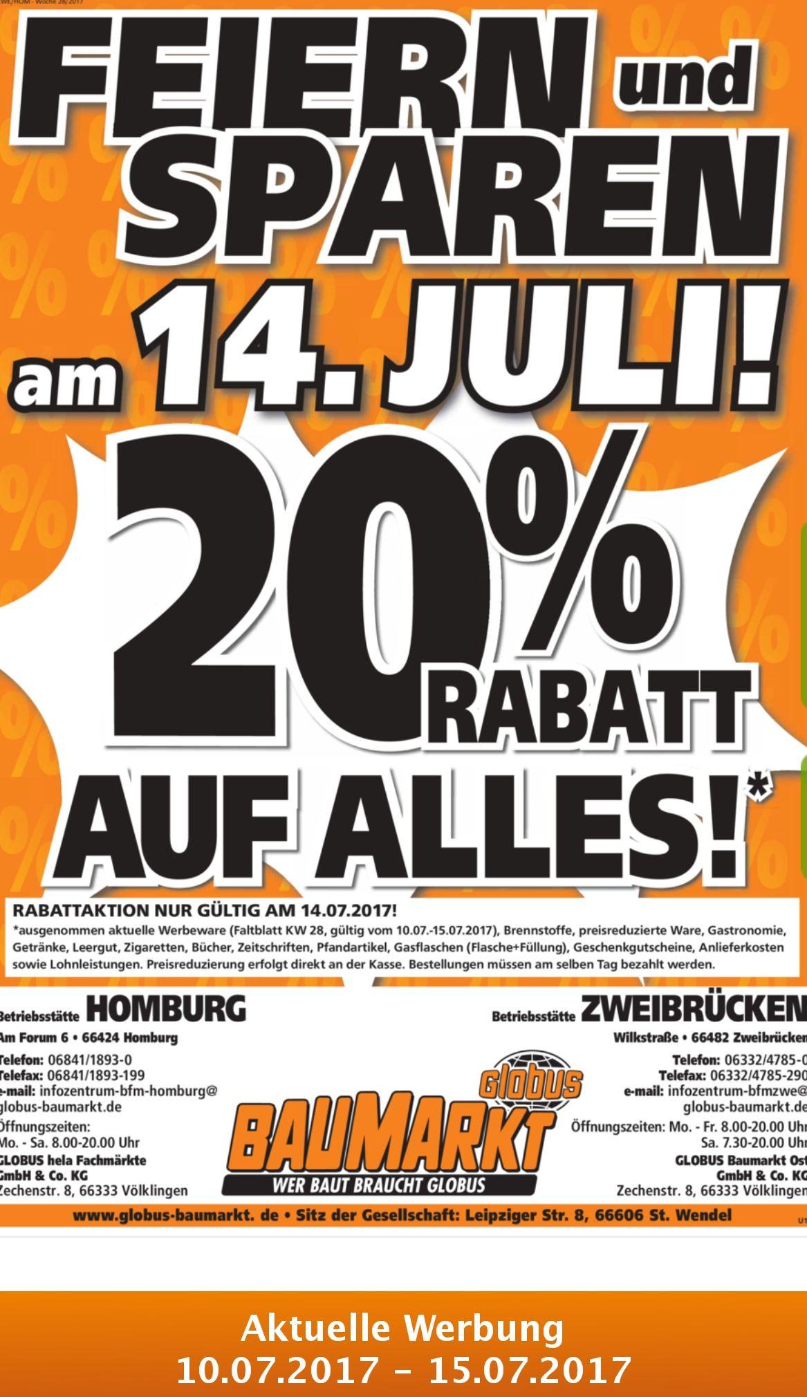 Wieder mal 20% im Globus Baumarkt Zweibrücken, Tiefpreisgarantie Bauhaus und Hornbach möglich